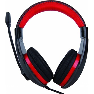 Canyon around-ear USB headset, leather pads, inline remote, black-red