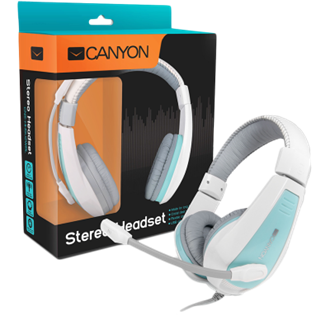 Canyon around-ear USB headset, leather pads, inline remote, white-blue