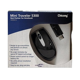 Chicony Mini Traveler 5300 egér, wireless, optikai, USB, Notebookhoz