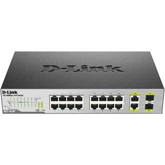 D-Link 16-Ports (8 Ports PoE) Fast Ethernet Unmanaged Switch, 2 1000Base-T/SFP C