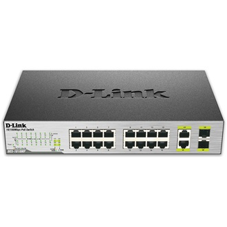 D-Link 16-Ports (8 Ports PoE) Fast Ethernet Unmanaged Switch, 2 1000Base-T/SFP Combo Ports- 16 x 10/100 Mbps PoE Ports -