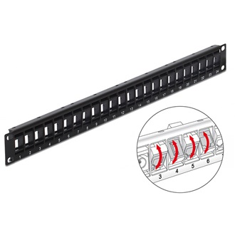 "Delock 19"" Keystone Patch Panel 24 Port rotatable black"