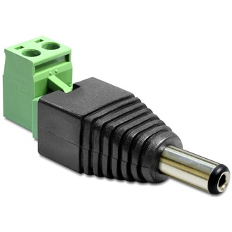 Delock DC 5,5x2,1mm -> Terminal block 2pin M/F adapter fekete