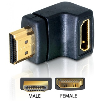 Delock HDMI M/F adapter fekete 90° le