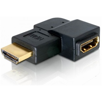 Delock HDMI M/F adapter 90° bal fekete