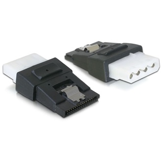 Delock Molex Power 4pin -> SATA Power 15pin F/F adapter fekete