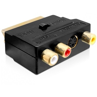 Delock Scart <-> 3db RCA 1db S-Video M/F adapter fekete