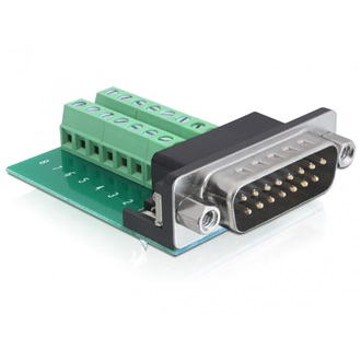 Delock Sub-D 15pin  -> Terminal block 16pin M/F adapter