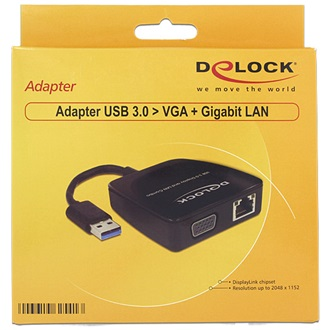 Delock USB 3.0 A -> VGA Gigabit Ethernet M/F adapter fekete