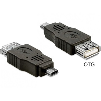 Delock USB mini B -> USB A M/M adapter OTG fekete
