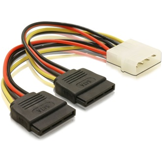 Delock Molex Power 4pin -> 2 SATA Power 15pin M/F tápkábel 0.16m