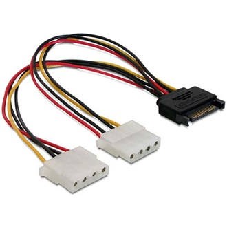 DELOCK SATA Power -> 2 Molex Power 4pin M/F adapter 0.2m