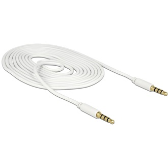 Delock Jack stereo 3,5mm (4pin) M/M audio kábel 2m fehér