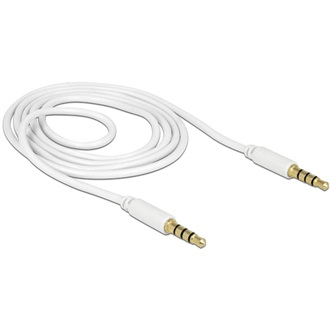 Delock Jack stereo 3,5mm (4pin) M/M audio kábel 1m fehér
