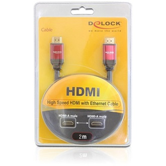 Delock HDMI 1.4 M/M video jelkábel 2m 3D support fekete