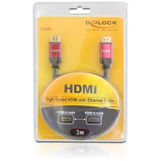 Delock HDMI 1.4 M/M video jelkábel 3m 3D support fekete