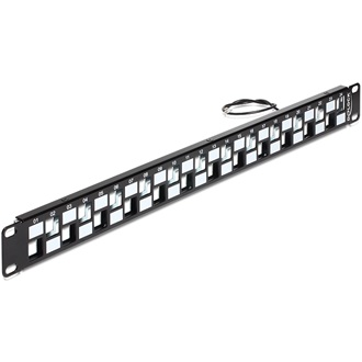 "Delock 19"" Keystone Patch Panel 24 port fekete"