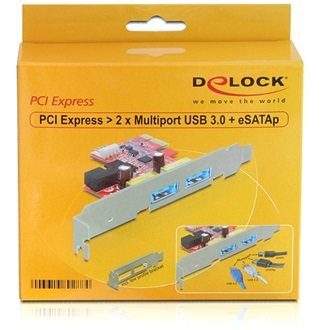 Delock PCI-E x1 - 2 USB3.0 power eSATA (multiport) IO vezérlő