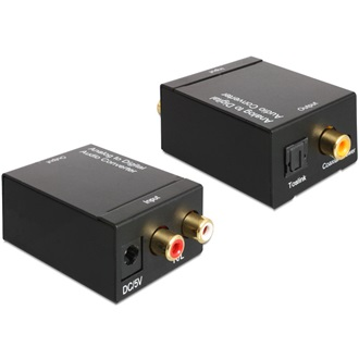 Delock 2 RCA -> Toslink Standard Coaxial A/D konverter fekete