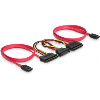 Delock 2 SATA 1 SATA Power 15pin -> 2 SATA All-in-One F/F adatkábel 0.5m piros