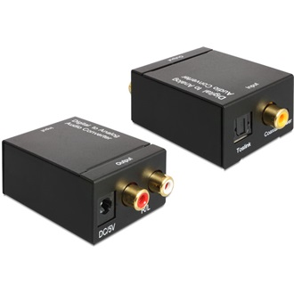 Delock Toslink Standard Coaxial -> 2 RCA D/A konverter fekete