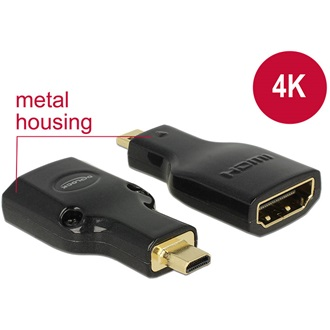 Delock HDMI micro D Ethernet -> HDMI M/F adapter 4k fekete
