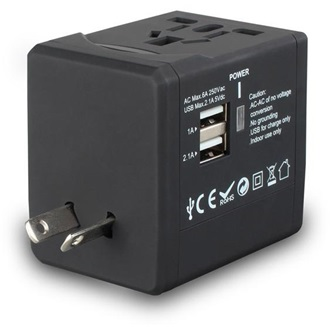 FSP NT580 Travel + 2 USB port (5V 2,1A / 5V 1A) adapter kék