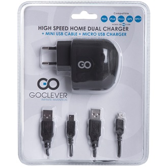 GOCLEVER High Speed Dual Charger hálózati adapter + micro és mini USB kábel