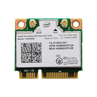Intel 3160 mini PCI-E x1 433Mbps + Bluetooth Wi-Fi adapter Dual Band