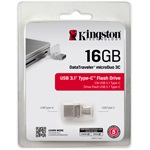 Kingston 16GB Data Traveler MicroDuo 3C USB3.1 + USB Type-C pendrive átlátszó