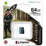 Kingston 64GB Canvas Go! Plus Class10 UHS-I U3 V30 A2 microSDXC memóriakártya Single Pack
