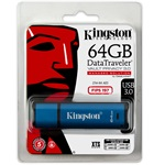 Kingston 64GB DataTraveler Vault Privacy 3.0 (Management Ready) vízálló USB3.0 pendrive kék
