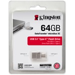 Kingston 64GB Data Traveler MicroDuo 3C USB3.1 + USB Type-C pendrive átlátszó