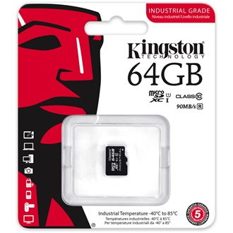 Kingston 64GB Indrustrial Temp Class 10 UHS-I microSDHC memóriakártya Single Pack