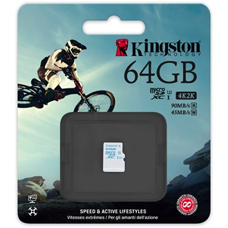 Kingston 64GB UHS-I U3 Action Card microSDXC memóriakártya Single Pack
