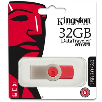 Kingston 32GB DataTraveler 101 Generation 3 USB3.0 pendrive piros