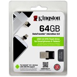 Kingston 64GB Data Traveler MicroDuo USB3.0 + Micro USB (OTG) pendrive fekete