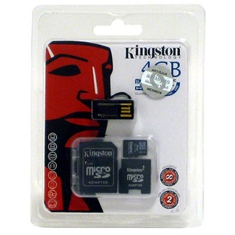 Kingston 4GB Micro Secure Digital (microSDHC Class 4) Multi-Kit memória kártya 2 adapterrel, Generation 2