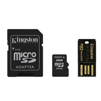 Kingston 2GB Micro Secure Digital (microSD) Multi-Kit memória kártya SD adapterrel, Generation 2