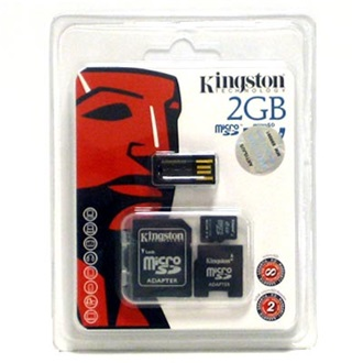 Kingston 2GB Micro Secure Digital (microSD) Multi-Kit memória kártya 2 adapterrel, Generation 2