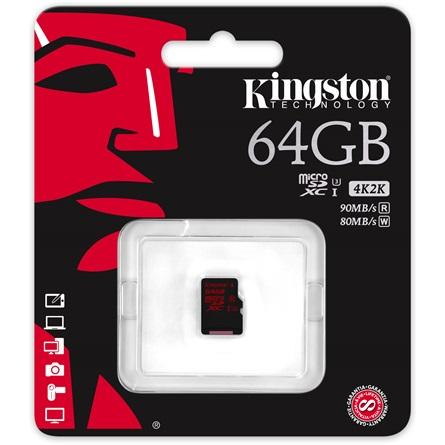 Kingston 64GB UHS-I U3 microSDXC memóriakártya Single Pack