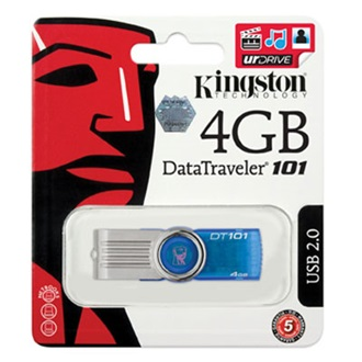 Kingston 4GB USB 2.0 Data Traveler 101 Generation 2 Memory Pen, cián kék