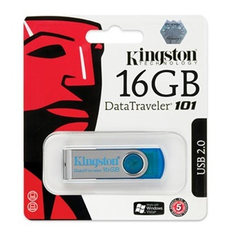 Kingston 16GB USB 2.0 Data Traveler 101 Memory Pen, cián kék