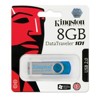 Kingston 8GB USB 2.0 Data Traveler 101 Memory Pen, cián kék (5év)