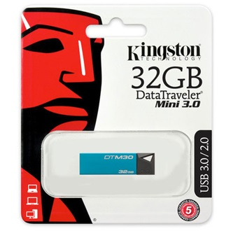 Kingston 32GB Data Traveler Mini USB3.0 pendrive türkiz