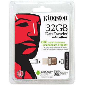 Kingston 32GB Data Traveler MicroDuo  USB 2.0 + Micro USB (OTG) pendrive barna