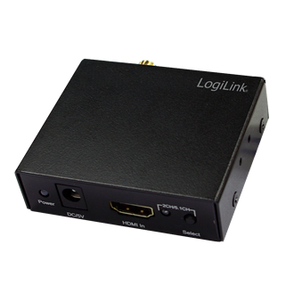 LogiLink HDMI -> HDMI Toslink/Coaxial SPDIF Jack 3,5mm F/F adapter fekete