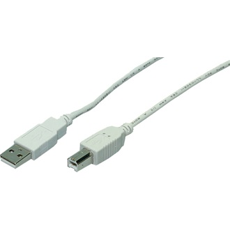 LogiLink USB A-B Cable, USB 2.0,2X male, grey,2,00m
