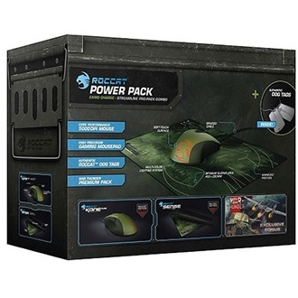 Roccat Military Starter Bundle - Kone Pure + Sense USB optikai gamer egér zöld