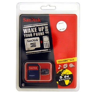 Sandisk Micro Secure Digital HC (SDHC) 8GB + SD adapter